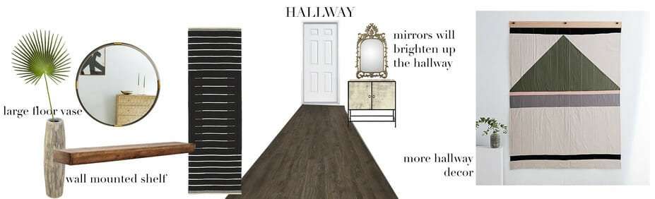 hallway moodboard for eclectic online studio apartment design