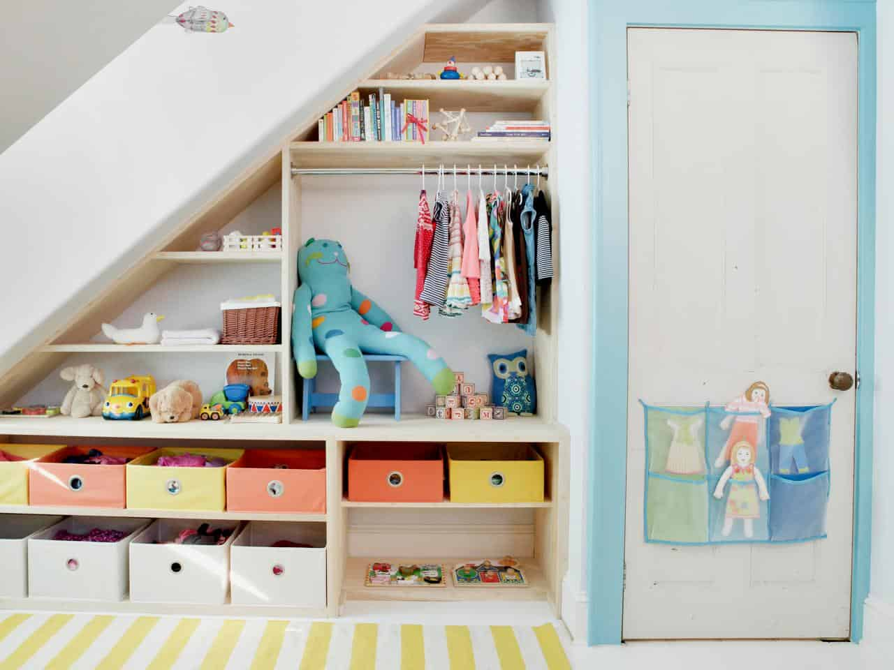 Storage shelves under the stairs