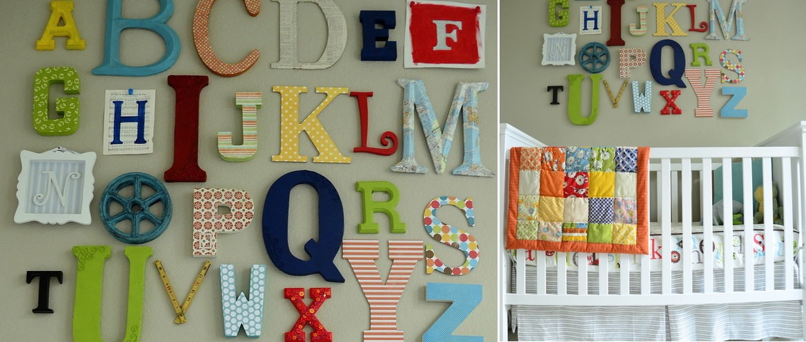 Alphabet Letters above the nursery bed