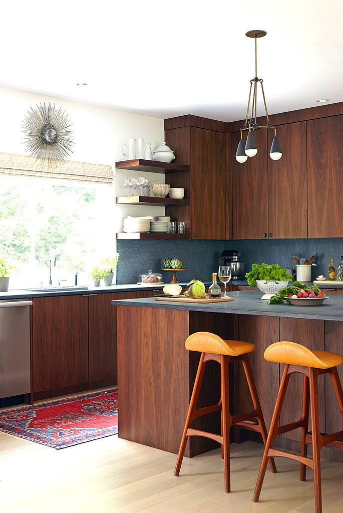 Honed Slate, Honey, & Cherry Red and Wood Kitchen