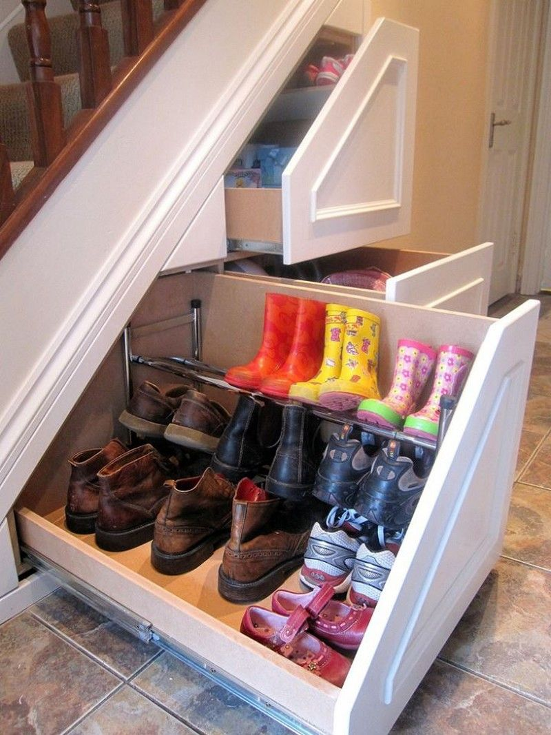Entryway stairs shoe storage