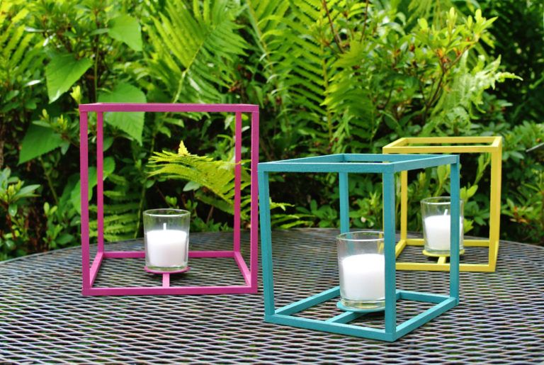 Colorful outdoor candle holder