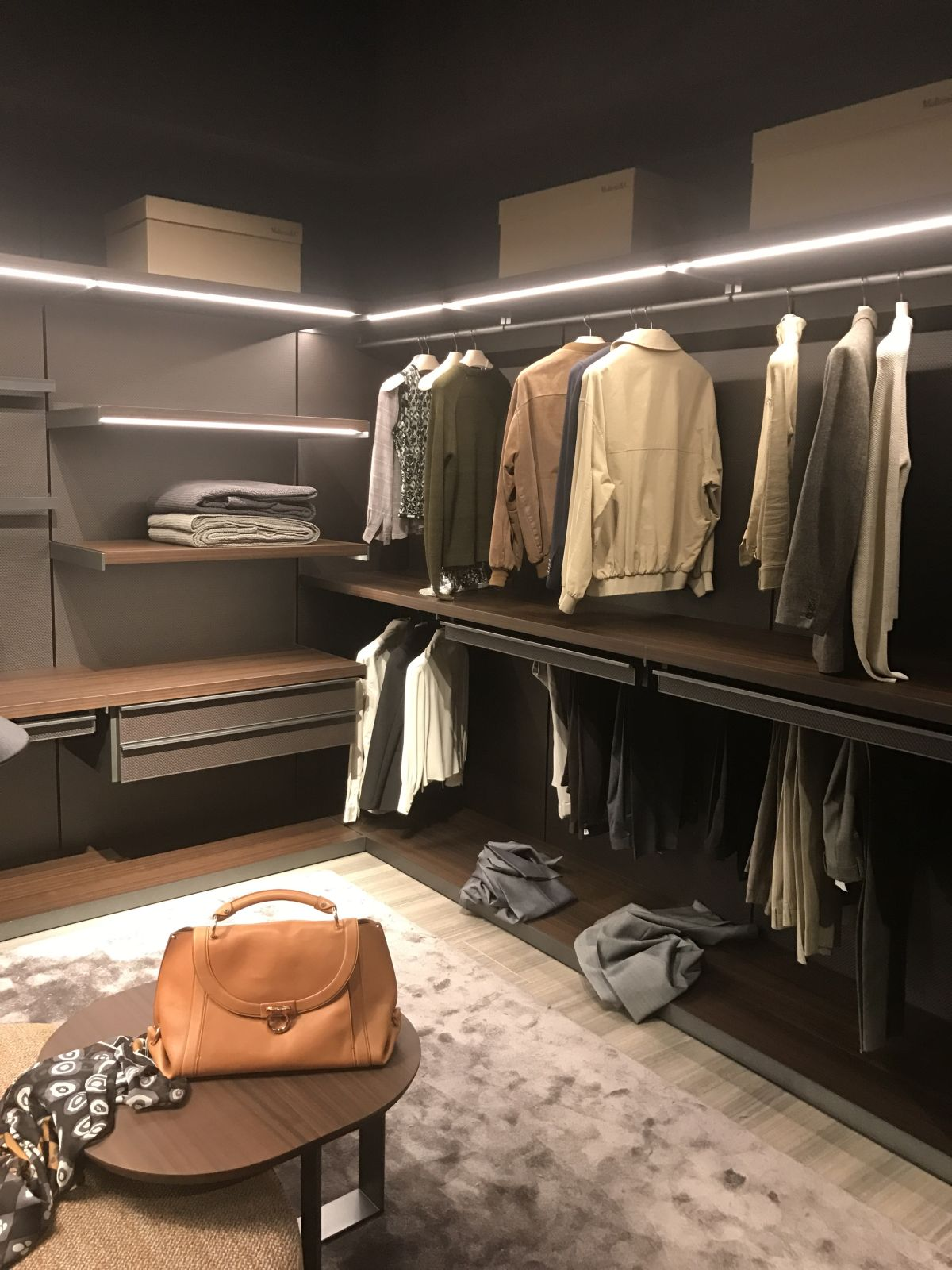 Open shelves are really useful in closets and storage areas in general. They mix well with drawers