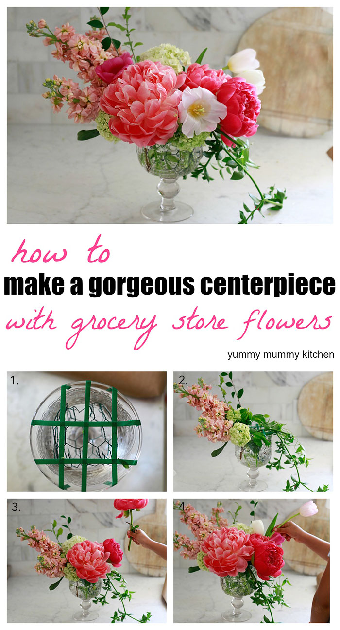 How to make a floral arrangement centerpiece with grocery store flowers.