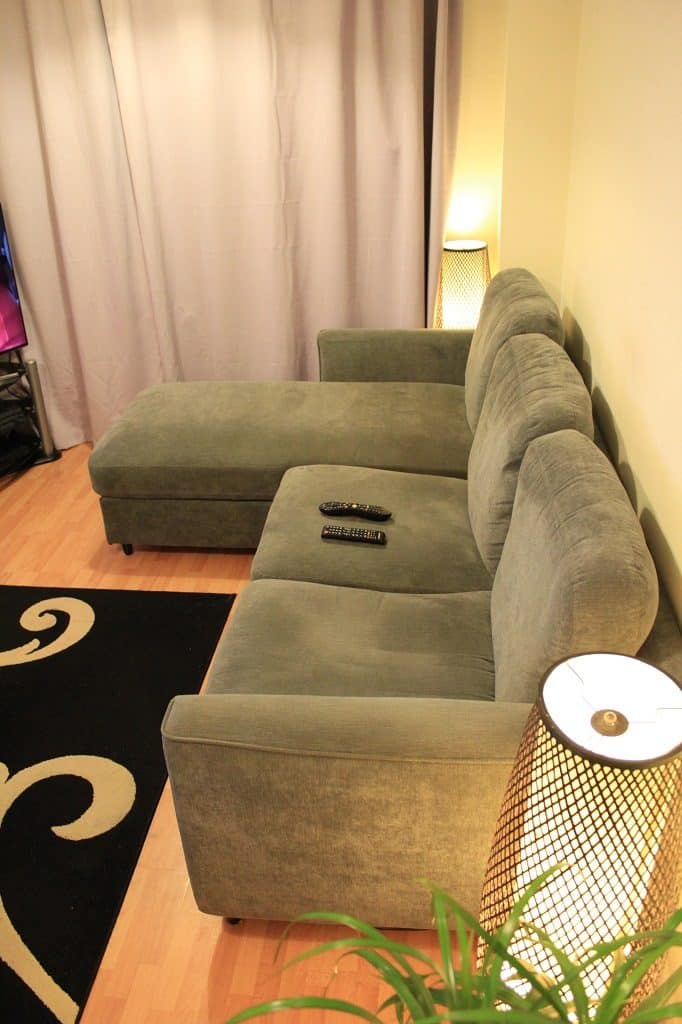 Sofa with storage lid opened