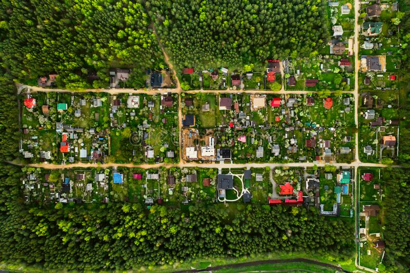 Aerial photography from above of a residential dacha village in the forest Suburban real estate in Belarus.Zhdanovichi Village 6.  royalty free stock photos