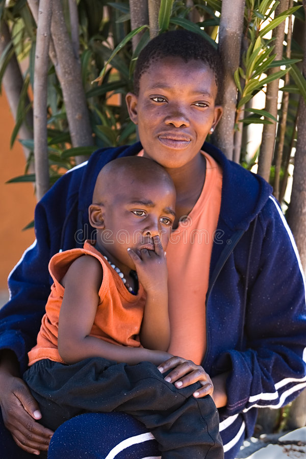 African child and mother. Single parent african mother and child portrait. Africa, Botswana stock images