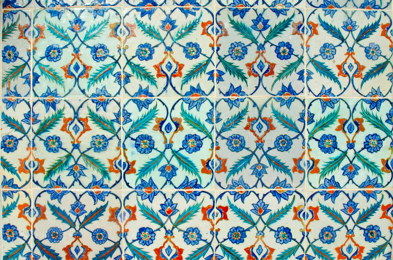Ancient hand made Turkish - Ottoman tiles in Topkapi Palace. Turkey, Istanbul. Decorative background.  stock photo