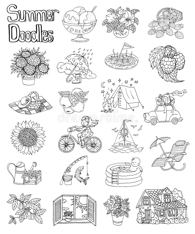 Design set with summer icon drawings of cottage house, flowers, boat, vintage car, gardening objects. royalty free illustration