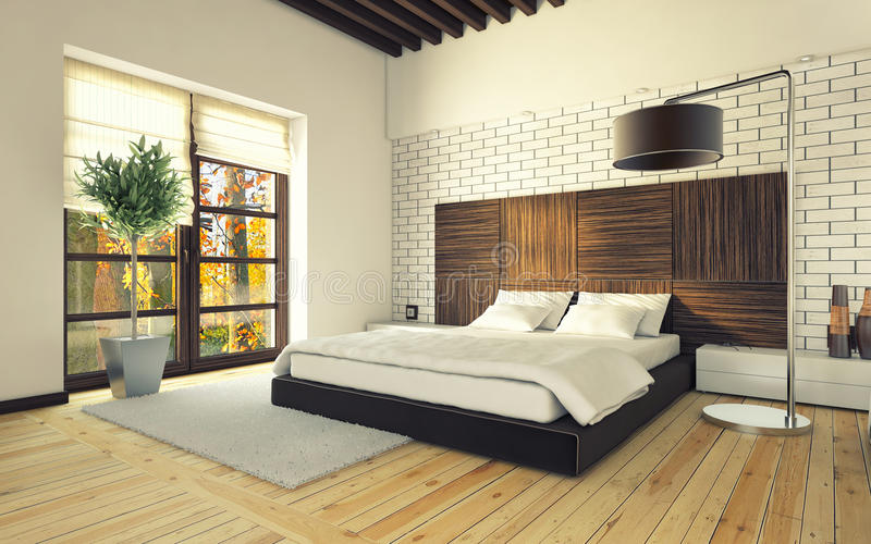 Bedroom with brick wall. And lamp stock illustration