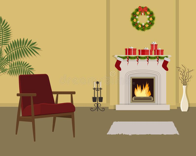 Beige living room with fireplace, decorated with Christmas decorations. The room also has a red armchair, a Christmas wreath, gift boxes and a vase with royalty free illustration