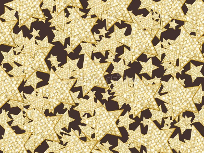 Black background with a combination of gold stars, abstract backgrounds royalty free stock image