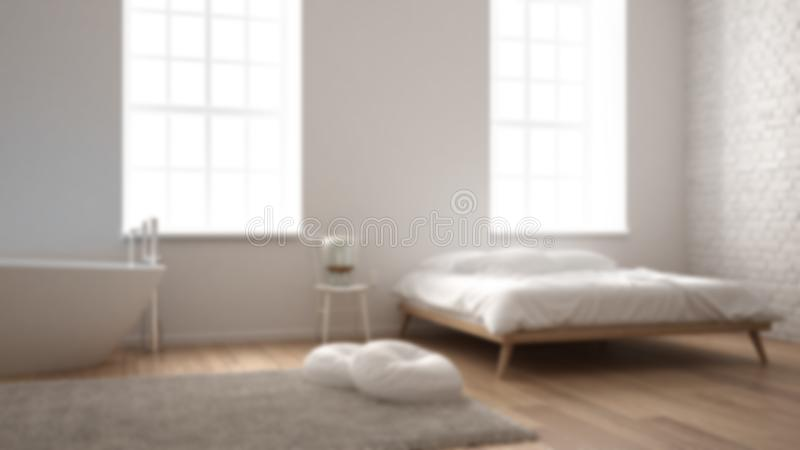 Blur background interior design, classic industrial modern bedroom with big windows, brick wall, parquet floor and bathtub, white stock image