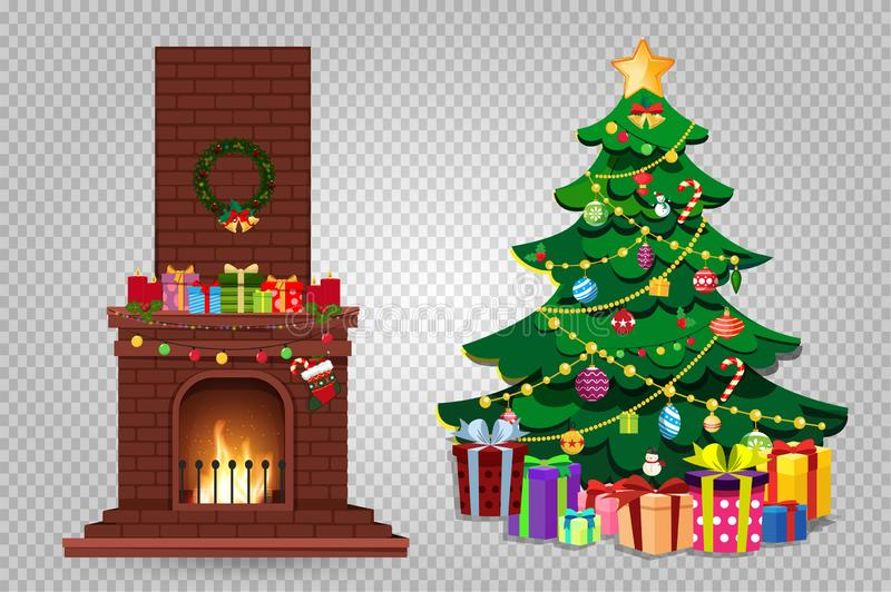 Cartoon christmas set of decorated burning fireplace and fir tree with presents clip art. Cartoon set of decorated burning fireplace and fir tree with many royalty free illustration