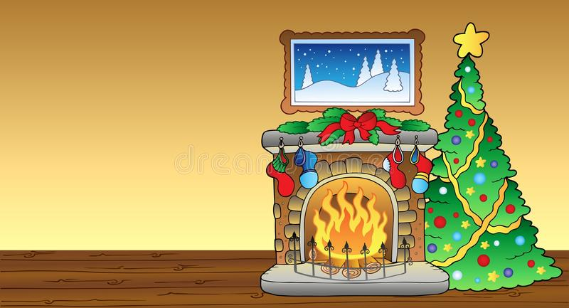 Christmas card with fireplace 1. Illustration royalty free illustration