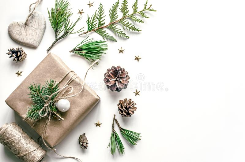 Christmas composition for the preparation for the New Year. Packing of gifts. Christmas background for presentation of stock photography