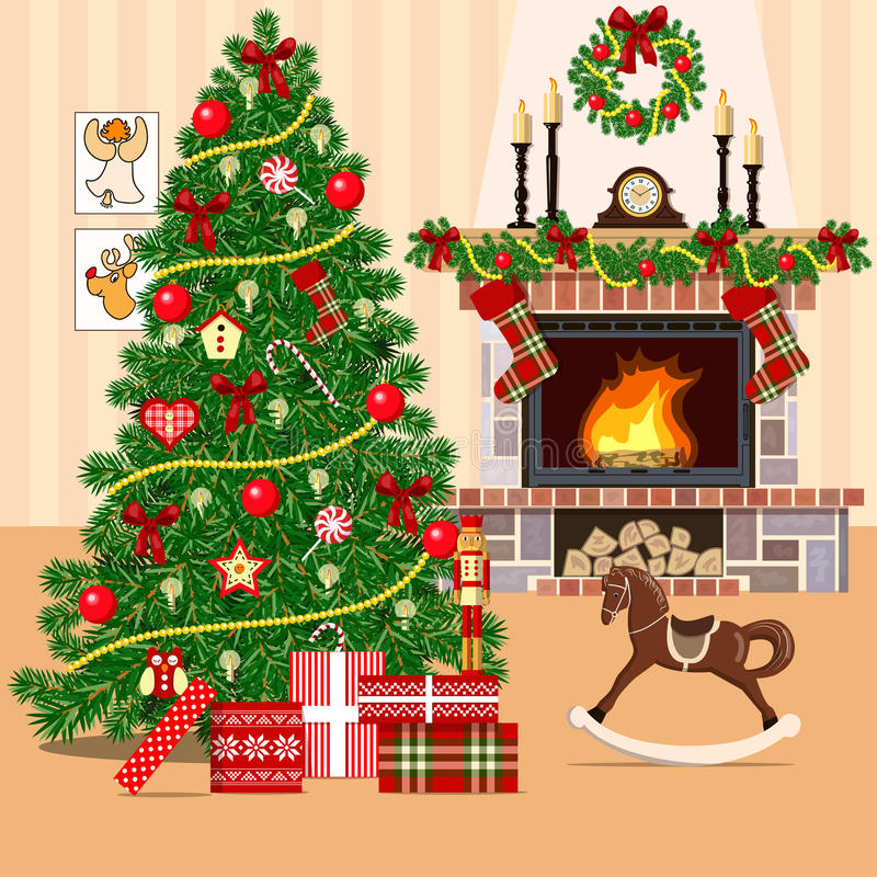 Christmas decorated room with christmas tree and fireplace. Flat style. Christmas decorated room with xmas tree and fireplace. Flat style vector illustration royalty free illustration