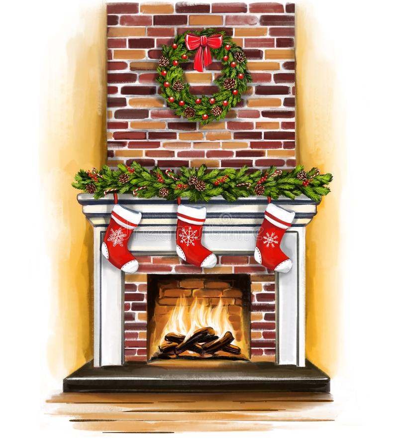Christmas fireplace, room decorated with Christmas decoration, greeting card, art illustration painted with watercolors.  stock illustration
