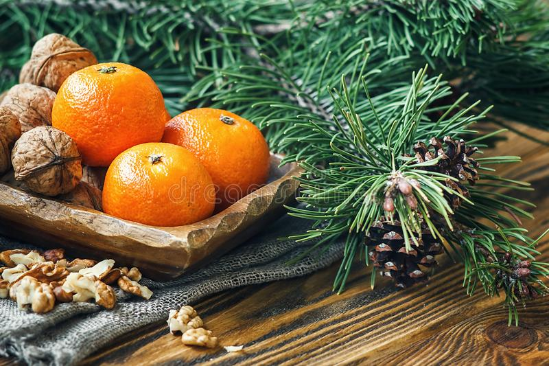 Christmas New Year composition winter holiday celebration concept symbol tangerines mandarin clementine nuts pine cones fir branch royalty free stock photography