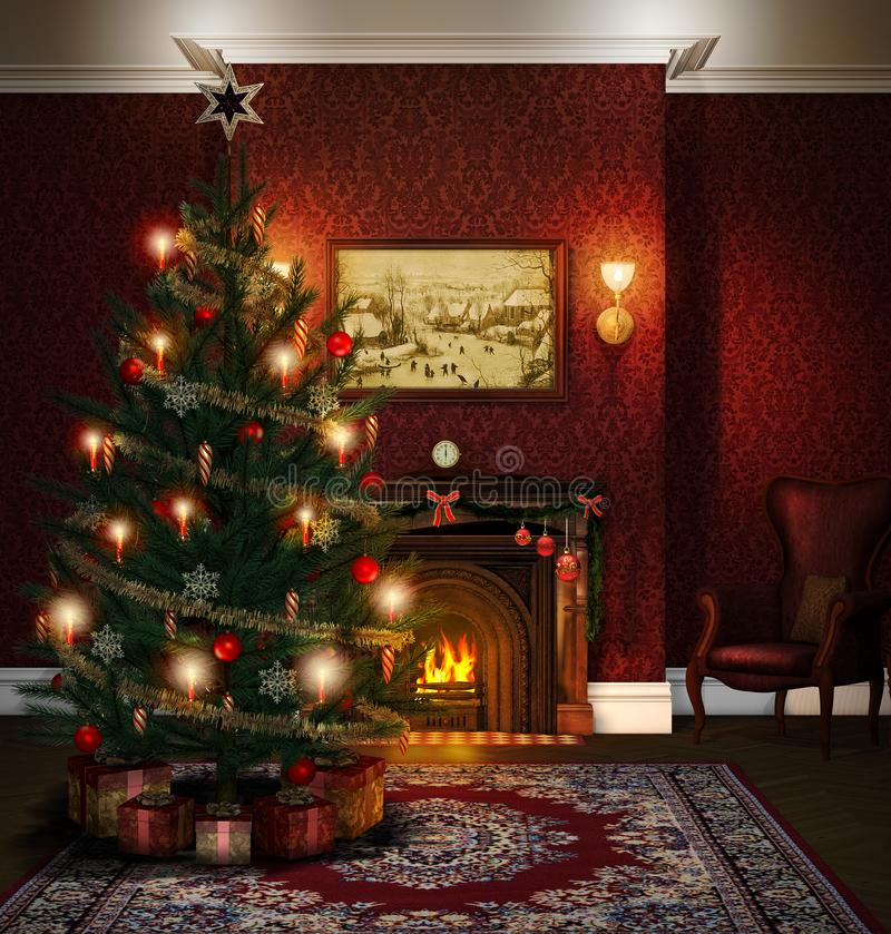 Christmas Tree Fireplace Decorated Living Room. 3D render of a Christmas Tree in a decorated atmospheric living room with a fireplace Lights at night vector illustration