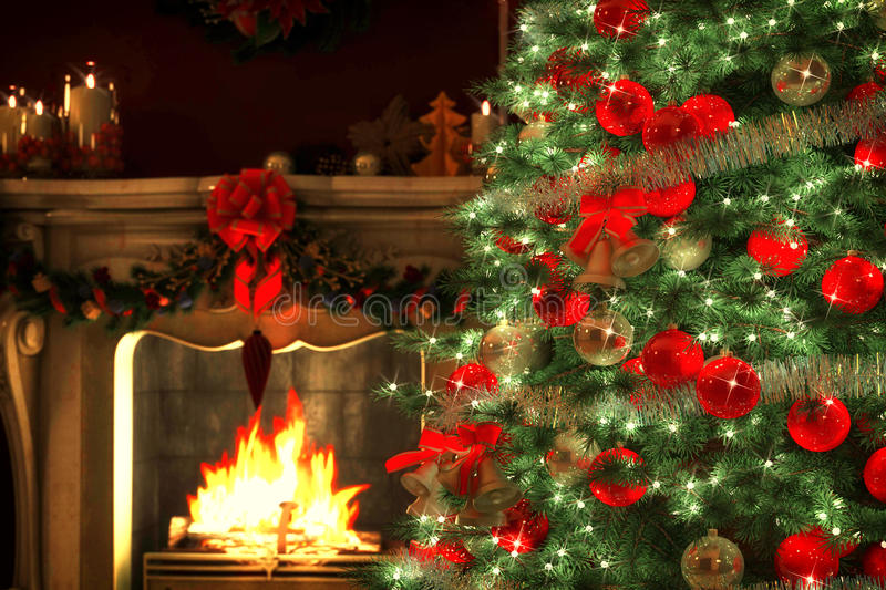 Christmas Tree with a fireplace. Christmas Tree and Christmas gift boxes in the interior with a fireplace stock image