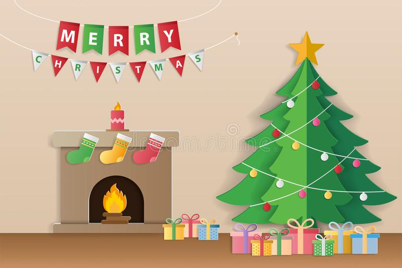 Christmas tree, gifts and decorated fireplace for season`s greet stock illustration
