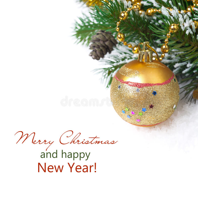 Composition with fir branches, pine cones and Christmas ball stock photo