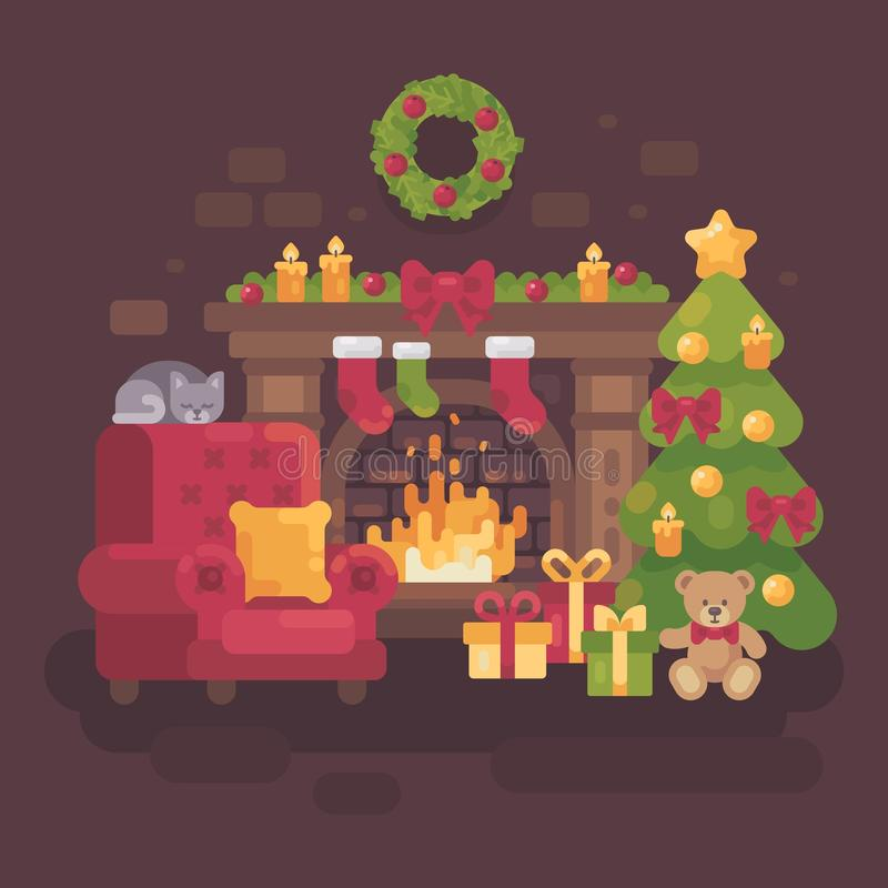 Cozy decorated Christmas room with a fireplace. A red armchair, a Christmas tree with presents and a sleeping cat. Holiday flat illustration royalty free illustration