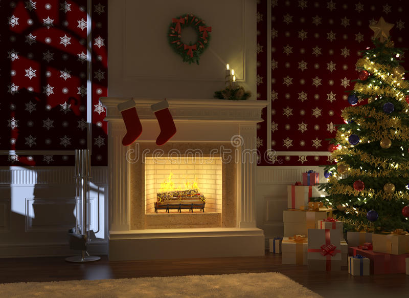 Cozy fireplace decorated for xmas. Cozy decorated christmas fireplace at night with tree, presents and santa claus silhouette on the wall vector illustration