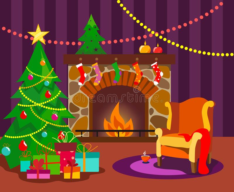 A cozy room with a fireplace, decorated with a Christmas tree and an armchair for Christmas in the style of a flat with bright flo. Wers.. Vector royalty free illustration