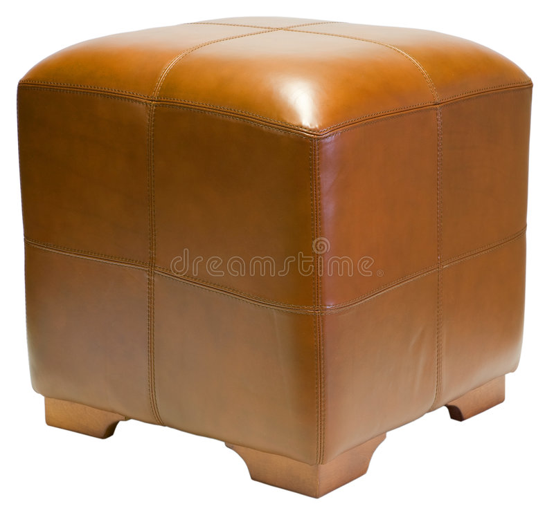 Cube Ottoman. Contemporary Brown Leather Cube Ottoman with Wood Legs stock photography