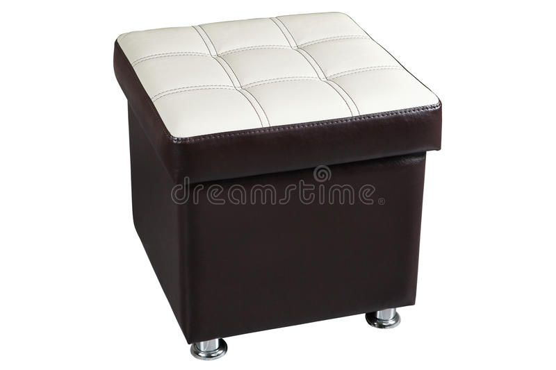 Dark leatherette ottoman chair seat with white top. Dark brown faux leather ottoman seat storage with white top, isolated on white background, include clipping stock photography