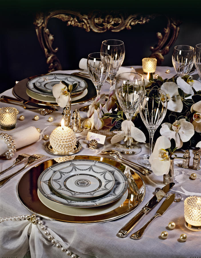 A decorated christmas dining table stock images