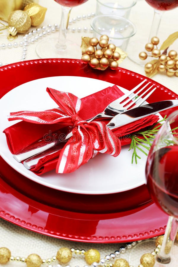 Decorated Christmas Dinner Table royalty free stock photography