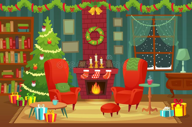 Decorated christmas room. Winter holiday interior decorations, armchair near fireplace and xmas tree vector background. Decorated christmas room. Winter holiday stock illustration