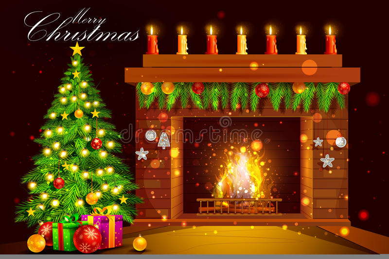 Decorated House fireplace for Merry Christmas holiday celebration. Easy to edit vector illustration of Decorated House fireplace for Merry Christmas holiday vector illustration