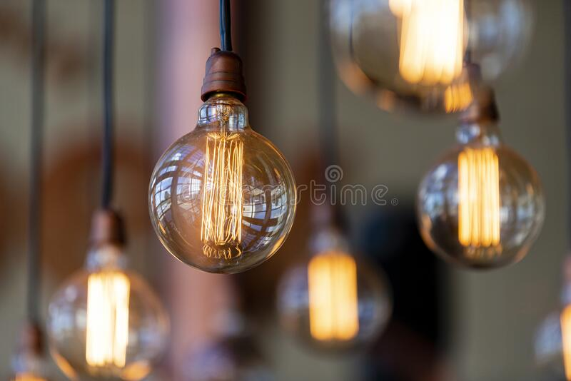 Decorative lamps with apparent filament.  royalty free stock photography