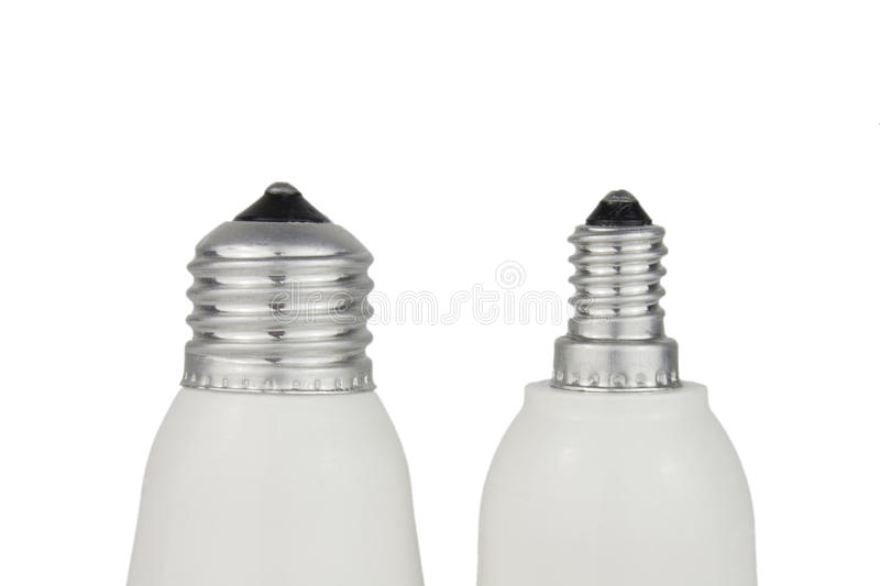 E27 and E14 lamp socket on white background. Comparing royalty free stock photos