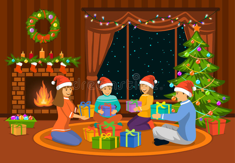 Family sitting in living room on the floor at fireplace and decorated christmas tree, exchanging xmas presents. Happy Family, man, woman parents and kids royalty free illustration