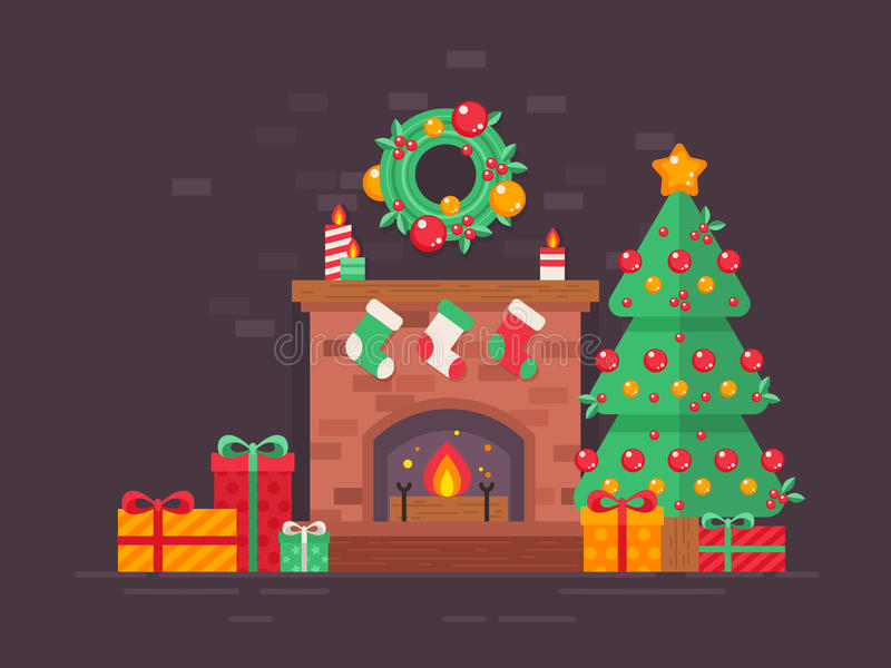 Festive Christmas tree and decorated fireplace flat card vector illustration