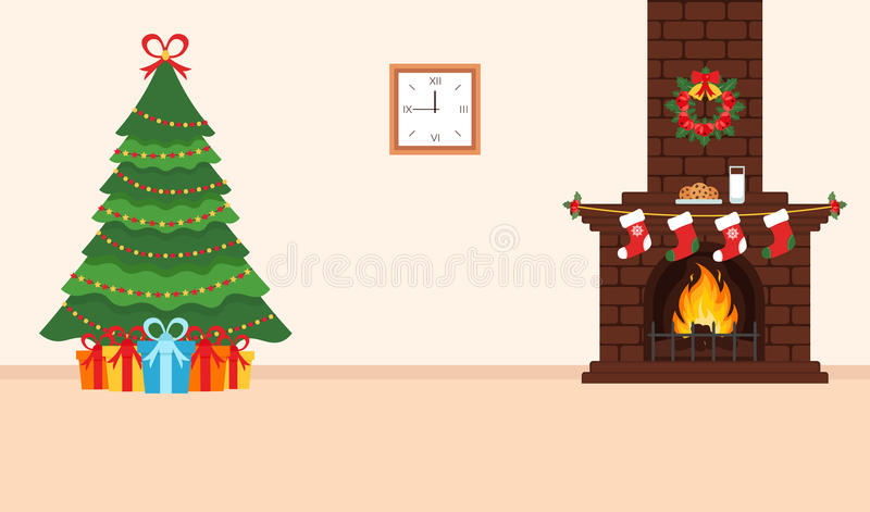 Festive design of the room. Brick fireplace, Christmas wreath, milk and cookies for Santa, festive decorated tree and gifts. Illus royalty free illustration