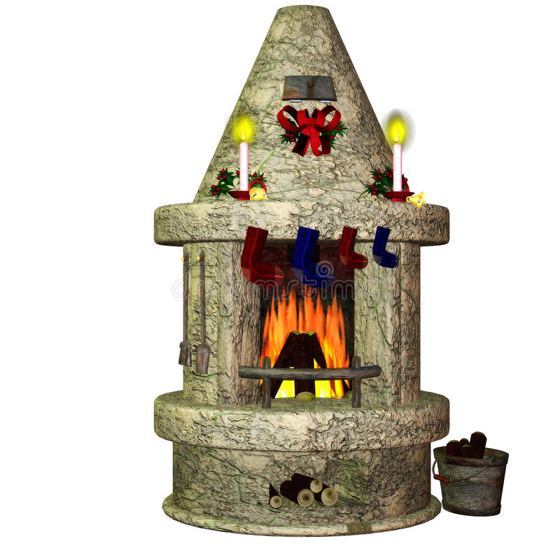 Fireplace. A festively decorated fireplace - isolated on white royalty free illustration
