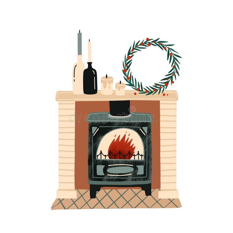 Fireplace with Christmas decorations flat vector illustration. New Year festive atmosphere. Home coziness. Decorated. Xmas mantelpiece, room interior item vector illustration
