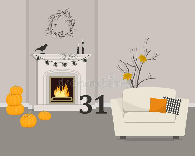 Fireplace, decorated for Halloween. Living room with fireplace and armchair.   Halloween decor in the interior. There are pumpkins, a garland of spiders, a web royalty free illustration