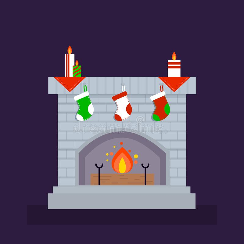 Fireplace, flat vector.Christmas, decorated with socks and candles. Fireplace, flat vector.Christmas, decorated with socks and candles for decoration.EPS format vector illustration