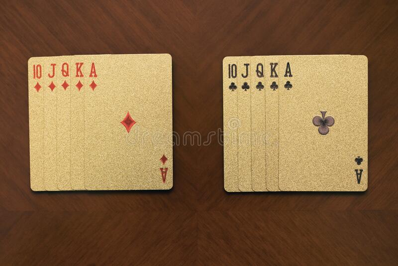 Five playing cards of the same suit, flash royal card combination, two gold card combinations,. Quads of aces royalty free stock photo