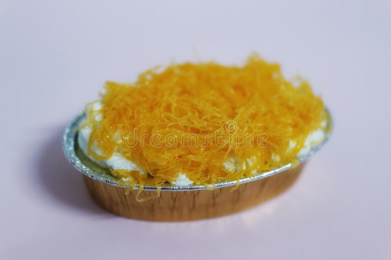 Gold Egg Yolk Thread Cakes Cake is a popular cake that is a perfect combination of Thai desserts and cakes. stock image