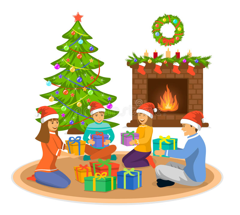 Happy Family, man, woman and kids celebrating merry christmas, sitting in living room on the floor at fireplace and decorated. Christmas tree, exchanging xmas vector illustration