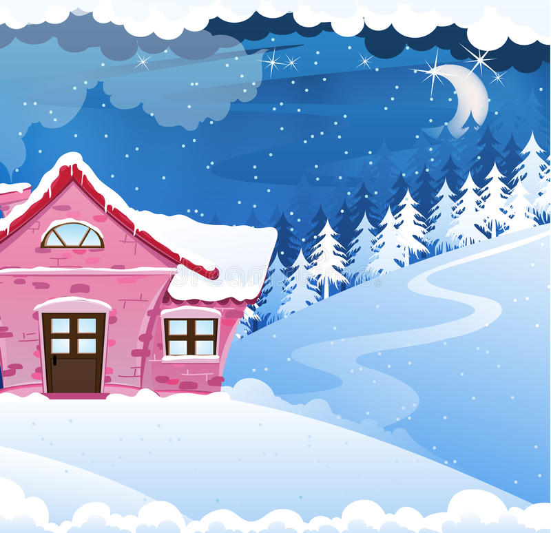 House covered with snow vector illustration