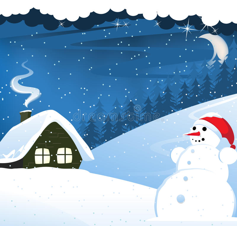 House and snowman vector illustration